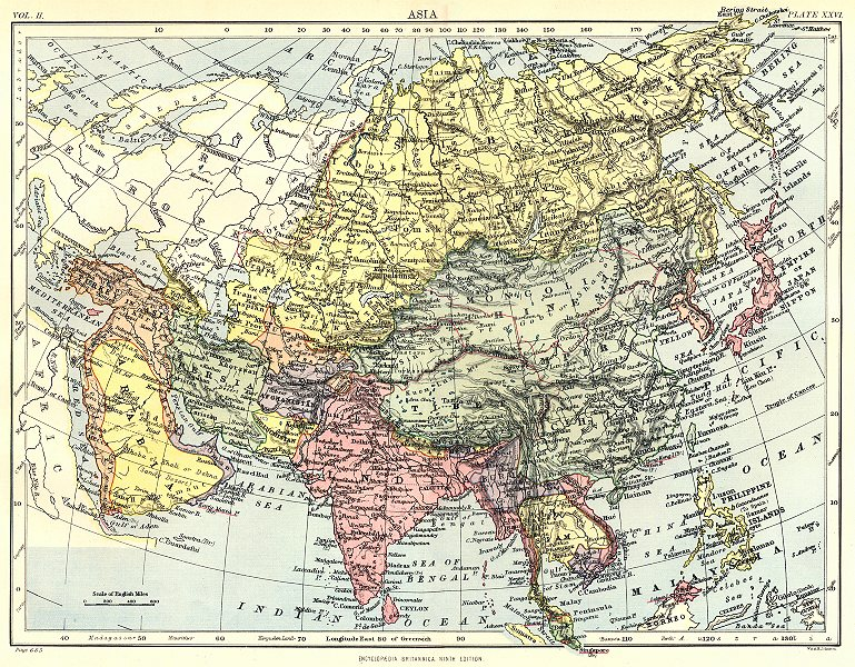 Associate Product ASIA. Britannica 9th edition 1898 old antique vintage map plan chart