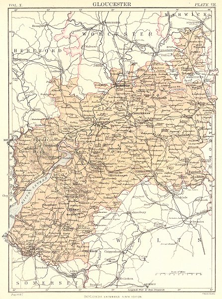 Associate Product GLOUCESTERSHIRE. Britannica 9th edition County map 1898 old antique chart
