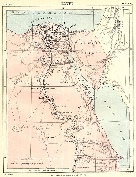 Associate Product EGYPT. Showing Ancient place names. Nile Valley. Britannica 9th edition 1898 map