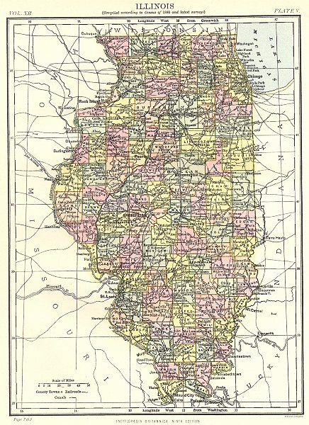 Associate Product ILLINOIS. State map showing counties. Britannica 9th edition 1898 old