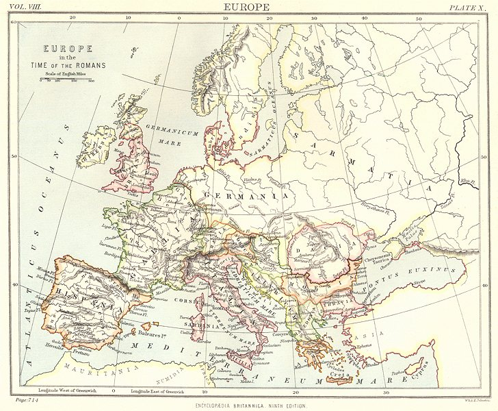 Associate Product EUROPE. Europe in the time of the Romans. Britannica 9th edition 1898 old map