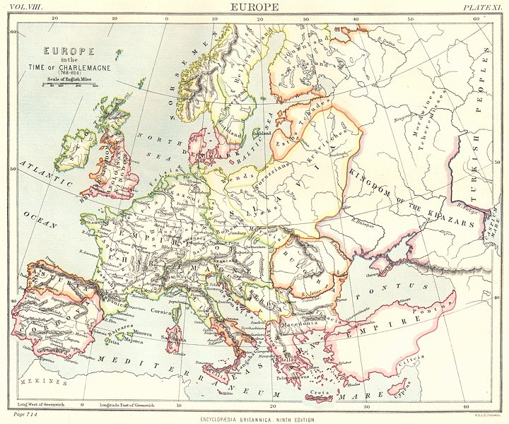 Associate Product EUROPE. in the time of Charlemagne (768- 814) . Britannica 9th edition 1898 map