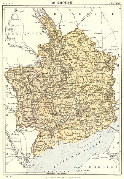 Associate Product MONMOUTHSHIRE. Wales. Britannica 9th edition 1898 old antique map plan chart