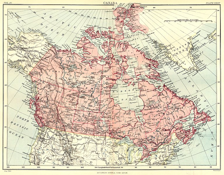 Associate Product CANADA. Showing provinces & territories. Britannica 9th edition 1898 old map