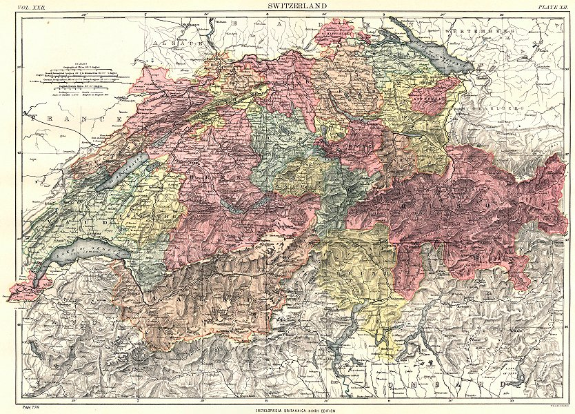 Associate Product SWITZERLAND. Showing cantons. Britannica 9th edition 1898 old antique map