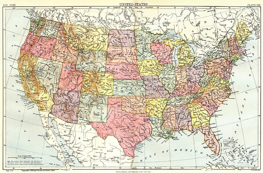 Associate Product USA. United States. Showing states. Britannica 9th edition 1898 old map