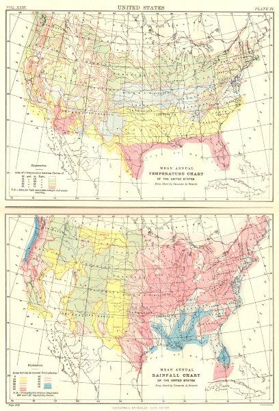 USA. Mean annual temperature chart; rainfall. Britannica 9th edition 1898 map