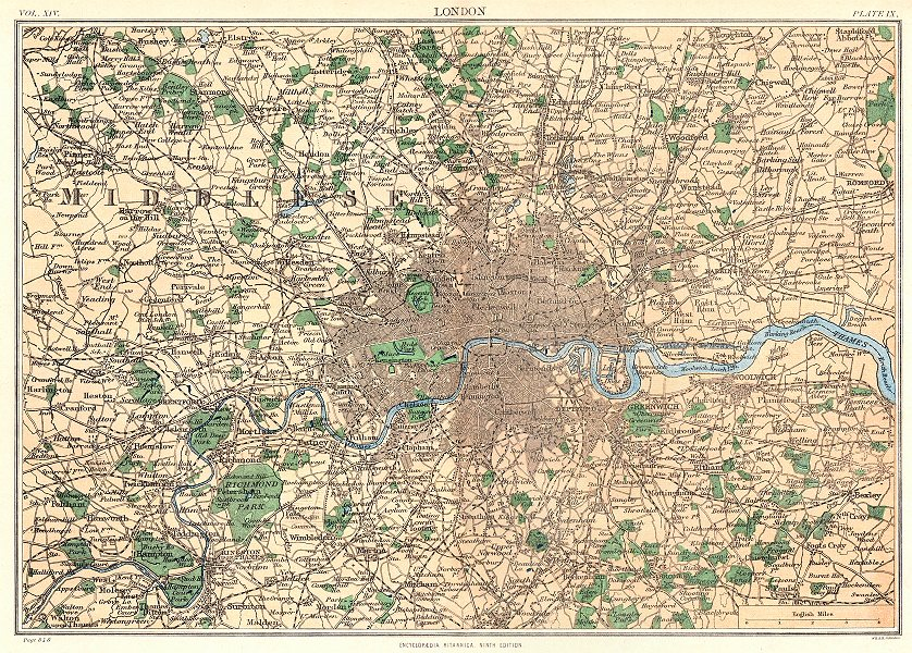 Associate Product LONDON. Greater London. Britannica 9th edition 1898 old antique map plan chart