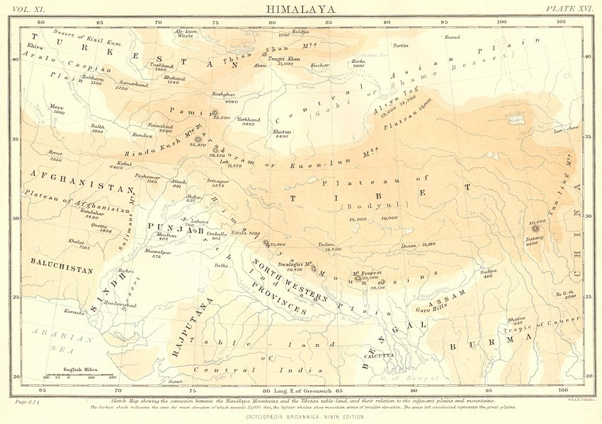 HIMALAYAS. Mountains. Tibet China India Afghanistan Pakistan.Britannica 1898 map