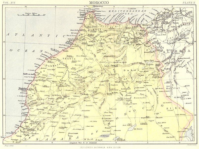 Associate Product MOROCCO. Britannica 9th edition 1898 old antique vintage map plan chart