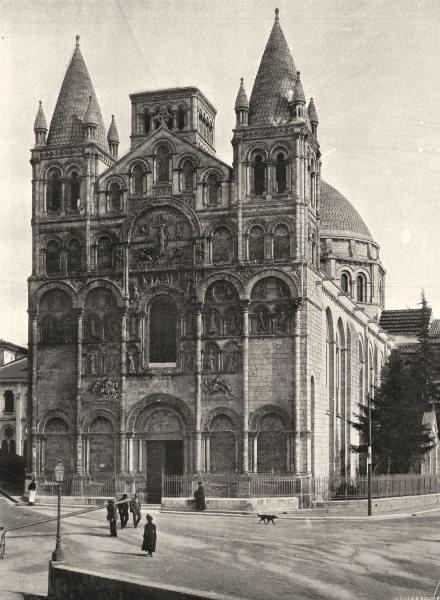 Associate Product CHARENTE. Angoulême- Façade de la cathédrale 1904 old antique print picture