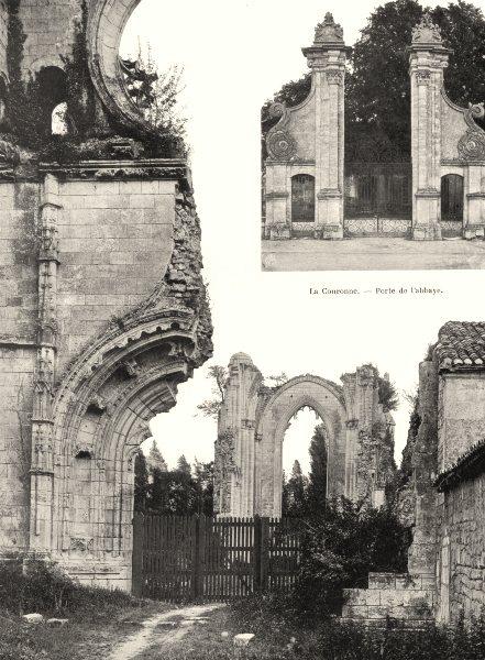 Associate Product CHARENTE. La Couronne- Ruines de l'abbaye 1904 old antique print picture