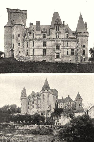 Associate Product CHARENTE. Rochefoucauld- Château. Façade sur cour; rivière 1904 old print