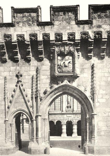 Associate Product CHARENTE-MARITIME. La Rochelle- Porte de l'hôtel de ville 1904 old print
