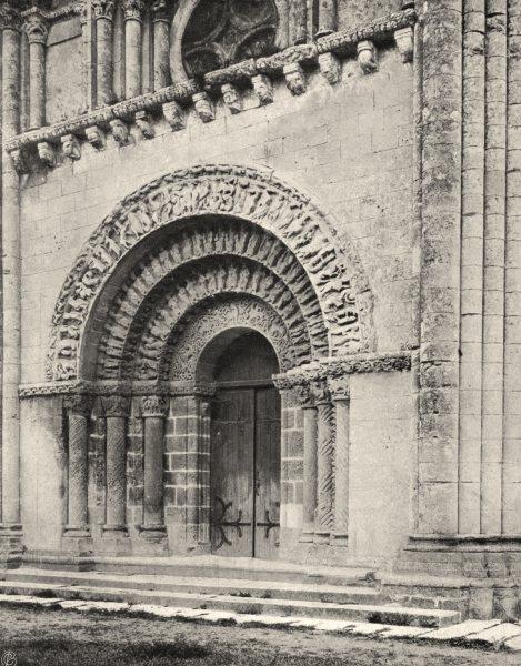 Associate Product CHARENTE-MARITIME. Aulnay- Portail latéral de l'église 1904 old antique print