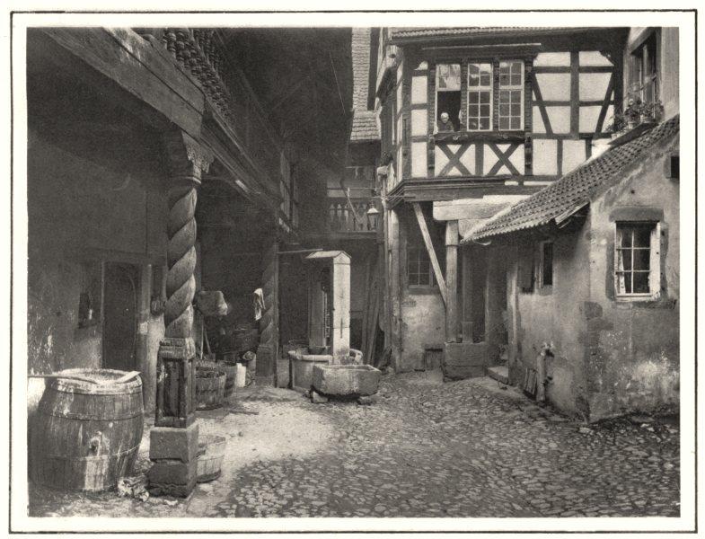 Associate Product HAUT-RHIN. Cour de la Maison des Cigognes, à Riquewihr 1929 old vintage print