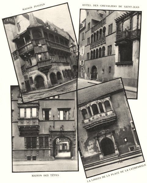 Associate Product COLMAR.Maison Pfister;Hotel Chevaliers St-Jean;Têtes;Loggia Pl Cathédrale 1929
