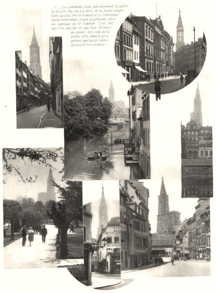 Associate Product BAS-RHIN. Cathedrale; Allées des quartiers nouveaux 1929 old vintage print