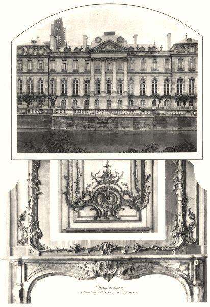 Associate Product BAS-RHIN. L'Hôtel de Rohan. Détails de la décoration intérieure 1929 old print