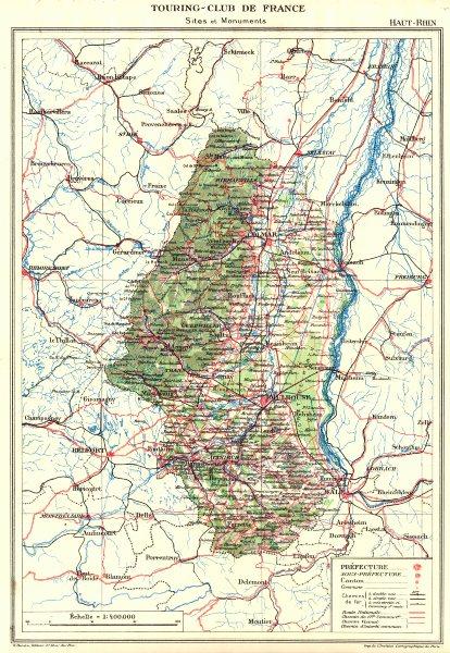 Associate Product HAUT-RHIN. Département. Haut-Rhin 1929 old vintage map plan chart