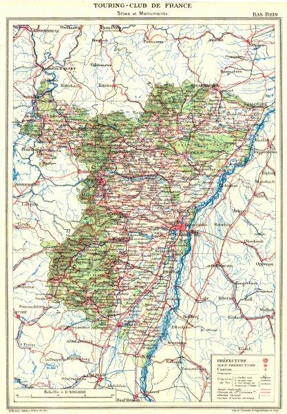 Associate Product BAS-RHIN. Département. Bas-Rhin 1929 old vintage map plan chart