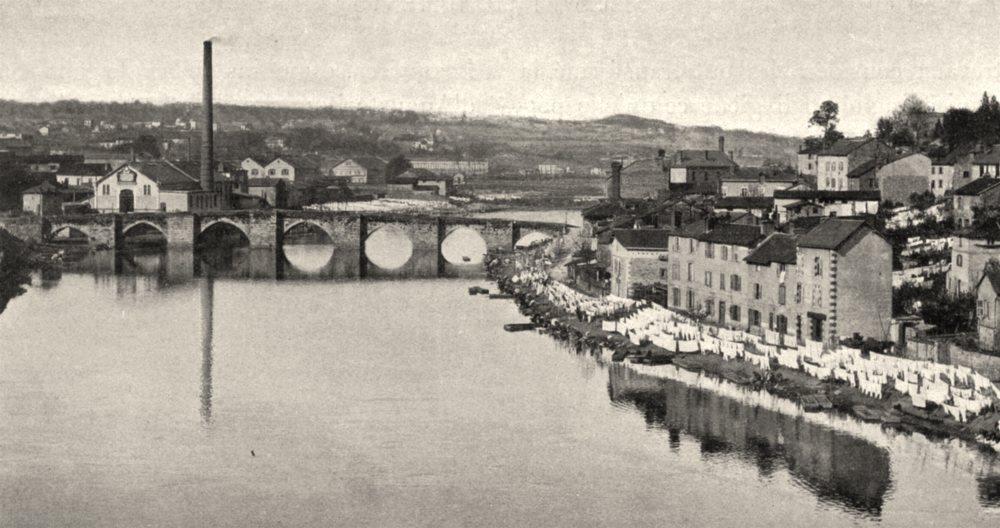 Associate Product HAUTE-VIENNE. Limoges- Pont Saint-Étienne. SMALL. 1904 old antique print