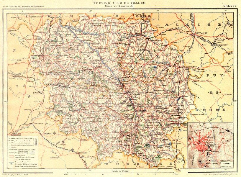 Associate Product CREUSE. Département. Département. Inset plan of Guéret 1904 old antique map
