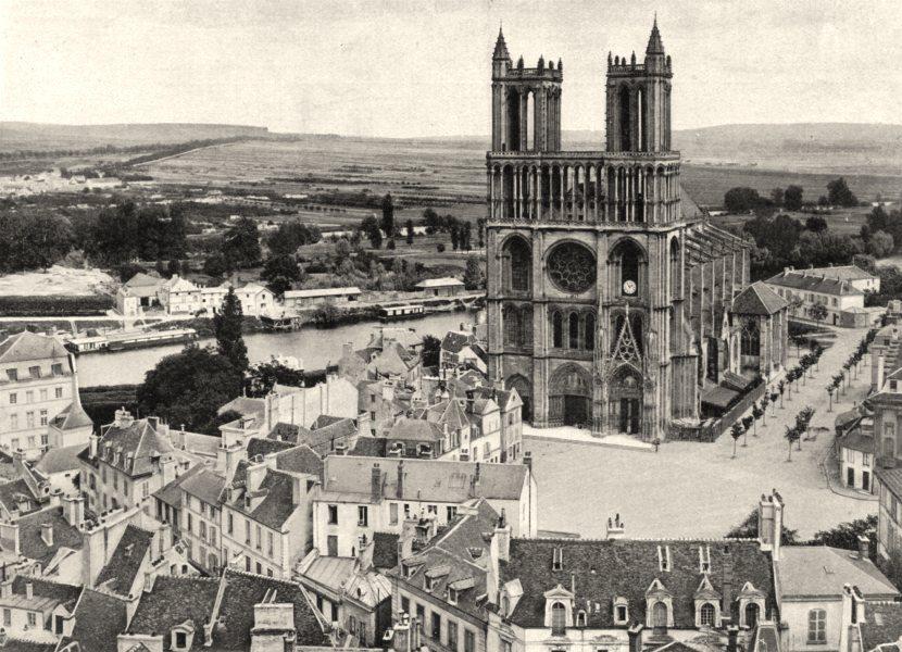 FRANCE. Vue générale de Mantes 1902 old antique vintage print picture