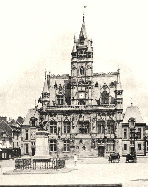 Associate Product OISE. L'Hôtel de ville, à Compiègne 1902 old antique vintage print picture
