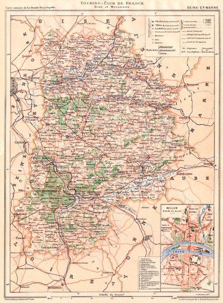 Associate Product SEINE-ET-MARNE. Département. Inset Melun 1902 old antique map plan chart