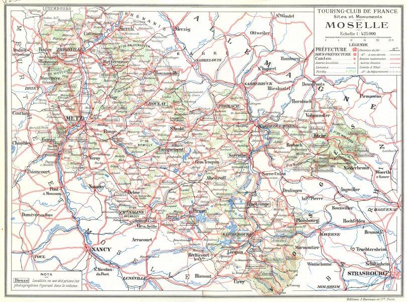 Associate Product MOSELLE. Département. sites et Monuments Moselle 1937 old vintage map chart