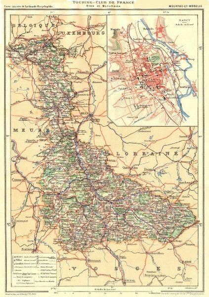 Associate Product MEURTHE-ET-MOSELLE. Département. Inset city town map plan of Nancy 1906