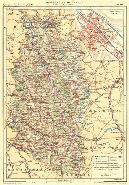 Associate Product MEUSE. Département. Inset city town map plan of Bar-le-duc 1906 old
