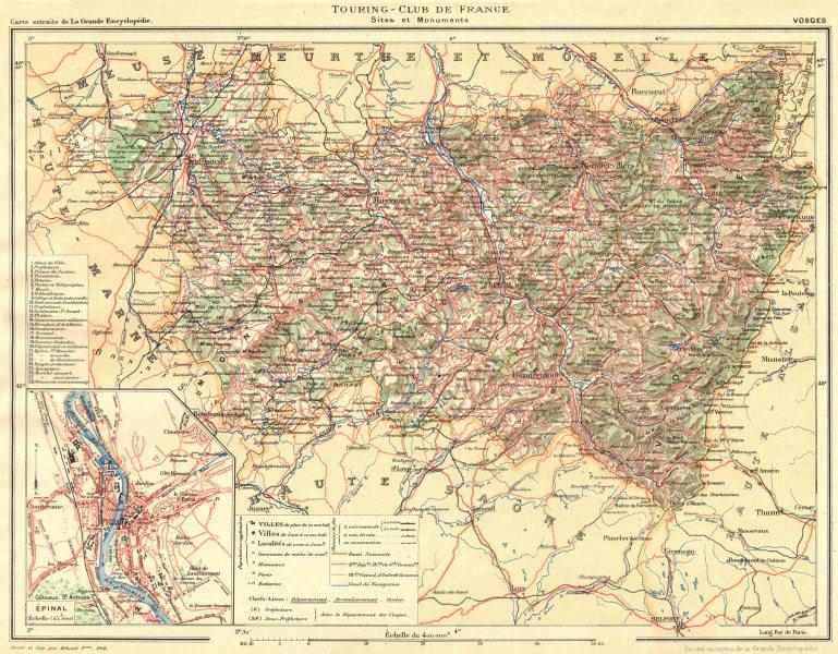Associate Product VOSGES. Département. Inset city town map plan of Épinal 1906 old antique