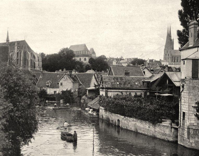 Associate Product EURE-ET-LOIR. Chartres, vue prise du pont de la Courtille 1903 old print