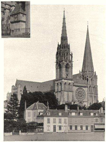 Associate Product EURE-ET-LOIR. Cathédrale de Chartres- Pavillon de I'Horloge 1903 old print