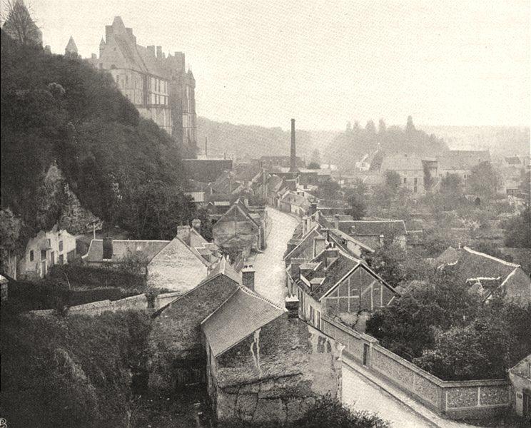 Associate Product EURE-ET-LOIR. Vue générale de Châteaudun 1903 old antique print picture