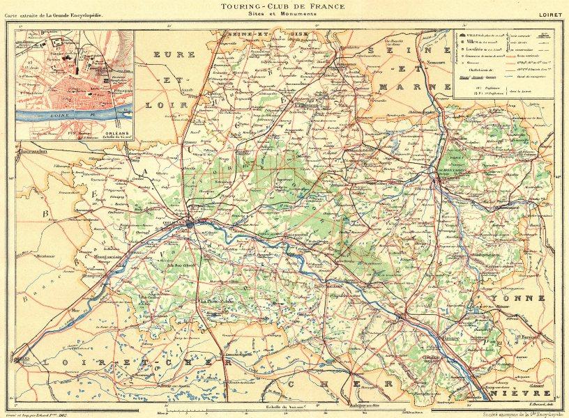 Associate Product LOIRET. Département. Inset city town map plan of Orléans 1903 old antique