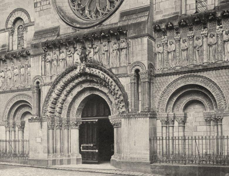 Associate Product DEUX-SÈVRES. Thouars- Portail de Saint-Médard 1904 old antique print picture