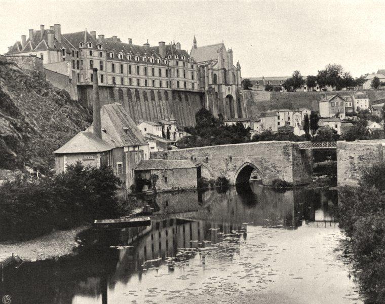 Associate Product DEUX-SÈVRES. Thouars- Château et vieux pont 1904 old antique print picture