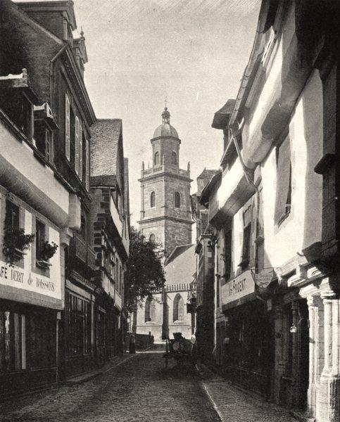 MORBIHAN. La rue du lait, à Auray 1903 old antique vintage print picture