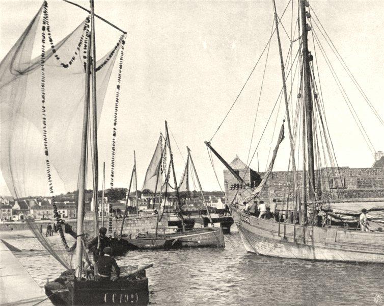Associate Product FINISTÈRE. La port, à Concarneau 1903 old antique vintage print picture