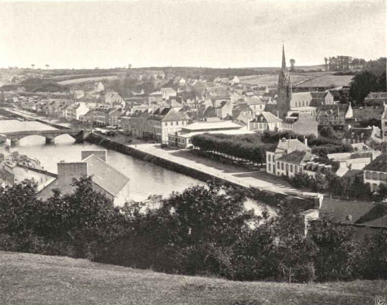 Associate Product FINISTÈRE. Vue générale de Châteaulin. SMALL. 1903 old antique print picture