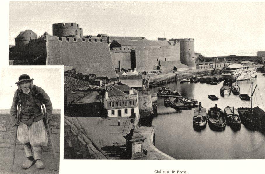 Associate Product FINISTÈRE. Mendiant du Finistère; Château de Brest 1903 old antique print