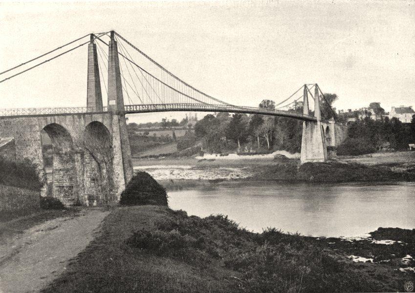 Associate Product CÔTES-D'ARMOR. Pont de Lézardrieux 1903 old antique vintage print picture