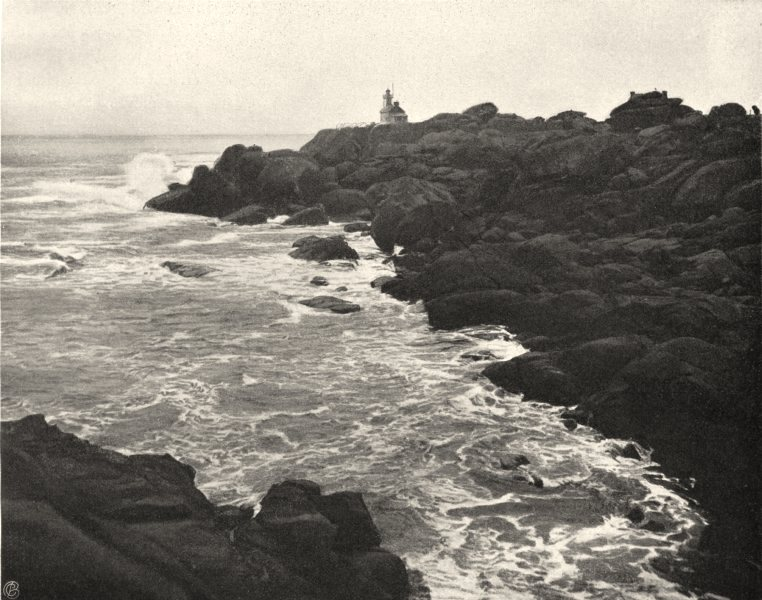Associate Product CÔTES-D'ARMOR. Rochers du phare, à Ploumanac'h 1903 old antique print picture
