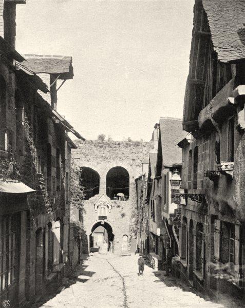 Associate Product CÔTES-D'ARMOR. Porte de Jerzual, à Dinan 1903 old antique print picture