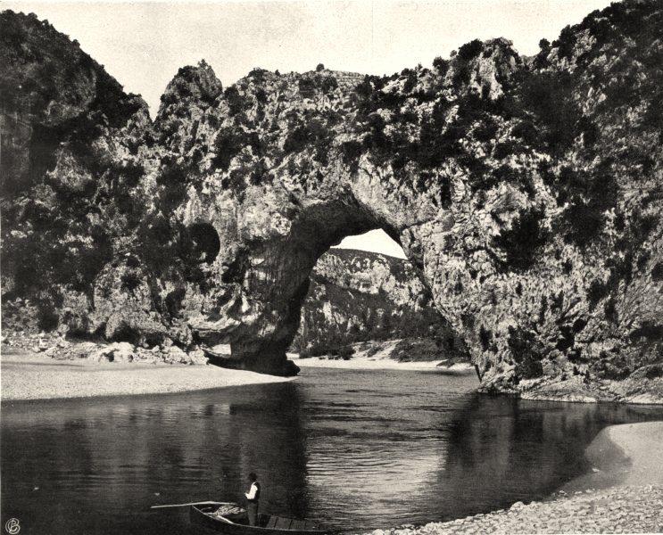 Associate Product ARDÈCHE. Le Pont d'Arc 1903 old antique vintage print picture