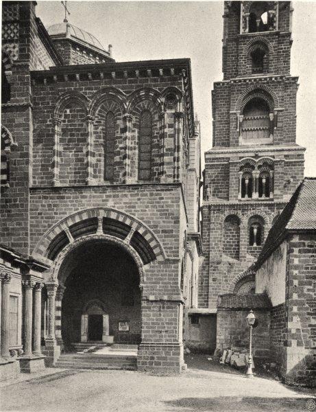 Associate Product HAUTE-LOIRE. Le Puy- Porche de la cathédrale 1903 old antique print picture