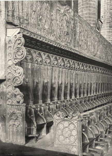 Associate Product HAUTE-LOIRE. La Chaise- Dieu- Choeur et tapisseries 1903 old antique print